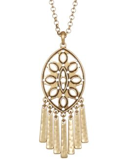 Openwork Fringe Pendant Necklace