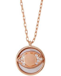 Rose Gold Plated Sterling Silver Dainty Round Evil Eye Necklace