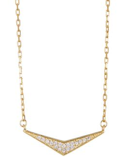Gold Plated Sterling Silver Pave Triangle Necklace