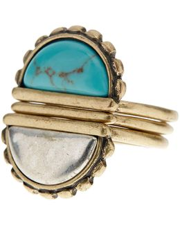 Turquoise Stone Stacked Ring - Size 7