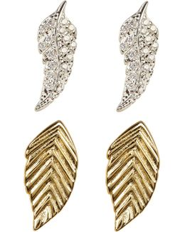 Sterling Silver Leaf Stud Set - Set Of 2