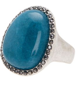 Stone Halo Statement Ring - Size 7