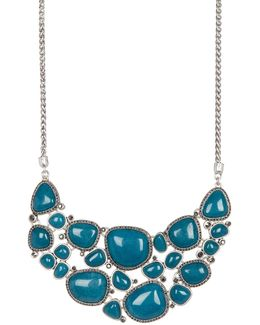 Stone Halo Statement Necklace