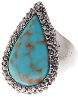 Turquoise Teardrop Pave Ring - Size 7