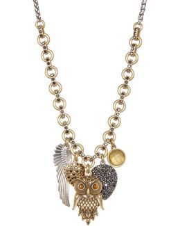 Two-tone Owl Charm Necklace