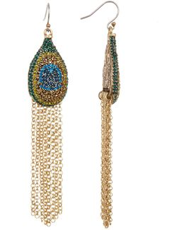 Pave Peacock Fringe Earrings