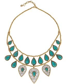 Etched Turquoise Drop Bib Necklace