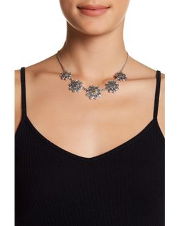 Two-tone Flower Collar Necklace