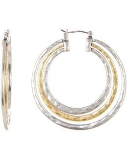 Two Tone Concentric Hoop Earrings