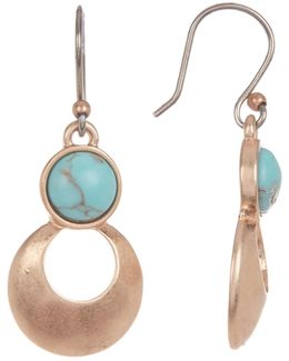 Rose Gold Turquoise Teardrop Earrings
