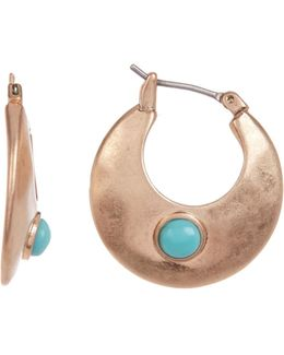 Rose Gold Turquoise Small Hoop Earrings