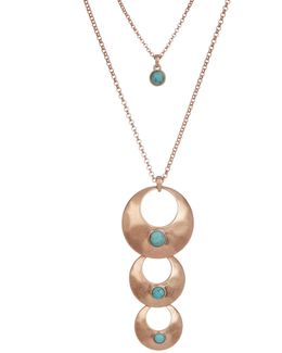 Rose Gold Turquoise Triple Pendant Necklace