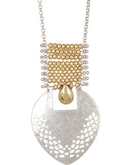 Two Tone Open Work Pendant Necklace