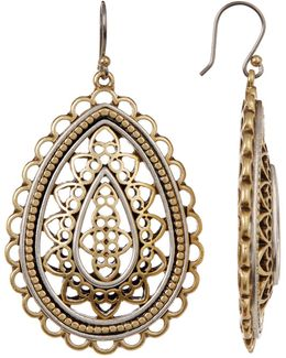 Two-tone Openwork Earrings