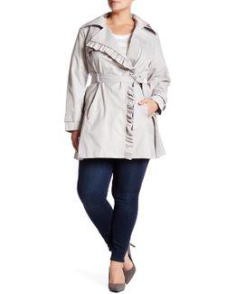 Ruffle Trim Asymmetrical Zip Trench Coat (plus Size)