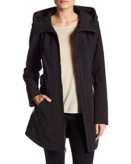 Belted Soft Shell Jacket With Hood