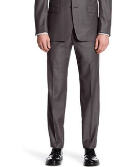 Charcoal Pin-dot Slim Fit Wool Pant