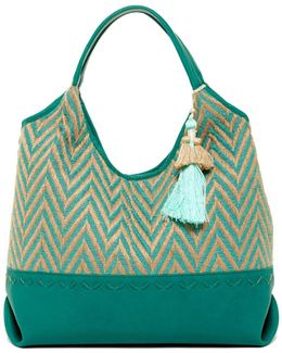 Steven By Andreas Tasseled Chevron Canvas Tote