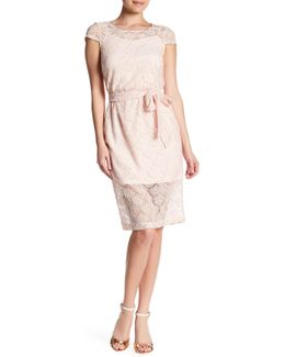 Short Sleeve Belted Midi Dress