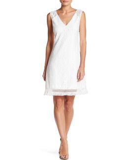 Sleeveless Lace & Fringe Shift Dress