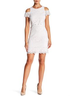 Lace Cold Shoulder Shift Dress