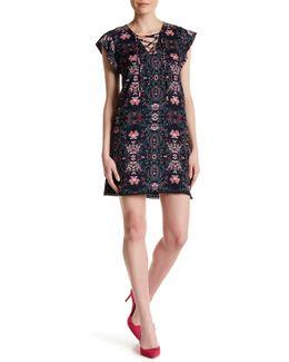 Floral Lace-up Mini Dress