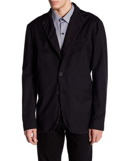 Black Quilted Two Button Peak Lapel Regular Fit Jacket