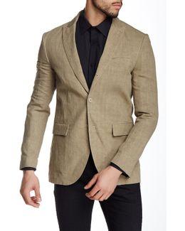 Metallic Woven Three Button Peak Lapel Linen Trim Fit Jacket