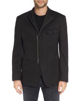 Trim Fit Three-button Zip Sport Coat