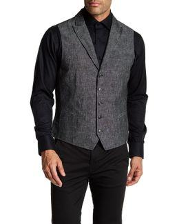 Garment Washed Slim Fit Peal Lapel Vest