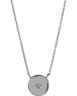 Sterling Silver Diamond Circle Pendant Necklace - 0.08 Ctw