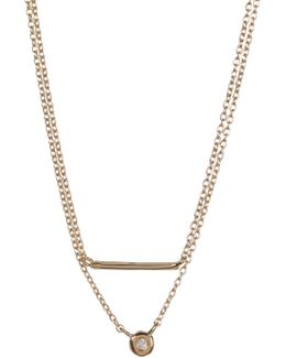 14k Gold Plated Diamond & Bar Charm Double Drop Necklace - 0.07 Ctw