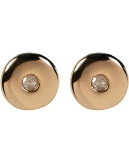 14k Gold Plated Diamond Circle Stud Earrings - 0.06 Ctw