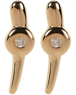 Gold Plated Diamond Detail Dot & Stick Earrings - 0.06 Ctw