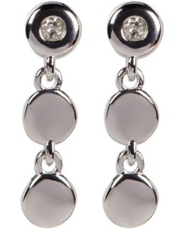 Sterling Silver Diamond Detail Triple Disc Drop Earrings - 0.06 Ctw