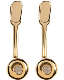 14k Gold Plated Diamond Detail Earrings - 0.06 Ctw