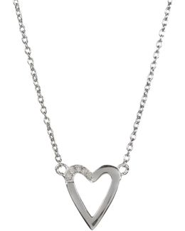 Sterling Silver Diamond Detail Open Heart Pendant Necklace - 0.08 Ctw