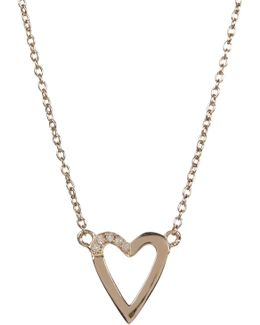 14k Gold Plated Diamond Detail Open Heart Pendant Necklace - 0.08 Ctw