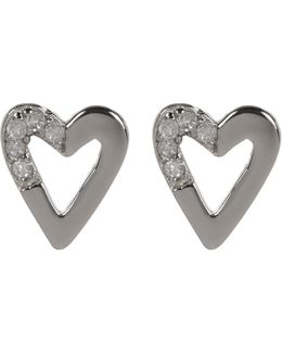 Sterling Silver Diamond Detail Open Heart Stud Earrings - 0.06 Ctw