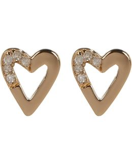Gold Plated Diamond Detail Open Heart Stud Earrings - 0.06 Ctw