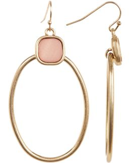 Cushion Stone Oval Drop Earrings