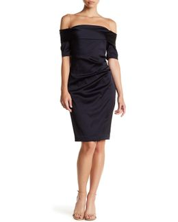 Mesh Yoke Cold Shoulder Dress