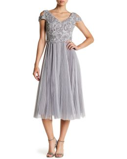 Metallic Crochet Lace & Accordion Pleat Dress
