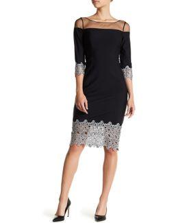 Mesh Yoke Metallic Crochet Lace Dress