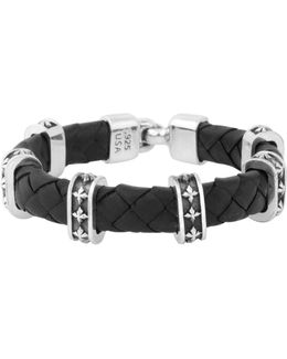 Sterling Silver Cross Station Braided Leather Bracelet