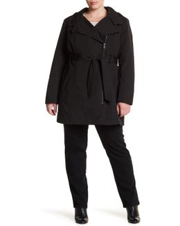 Asymmetrical Belted Trench (plus Size)