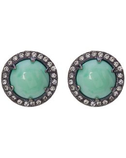 Prong Set Round Stone & Pave Halo Stud Earrings