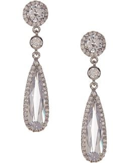 Cz Pear Halo Earrings