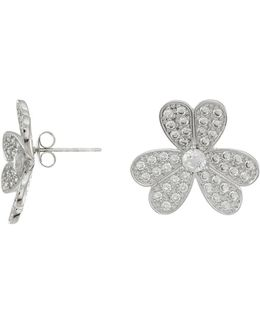 Round Cz Floral Stud Earrings