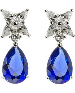 Cz Star & Dangling Teardrop Stud Earrings